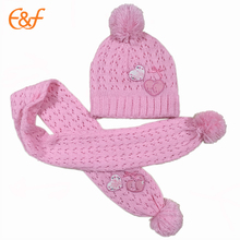 2017 Fashion Baby Girl Pink Funny Knit Hat And Scarf
