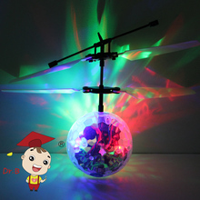 Children Induction Flashing Disco Colorful LED Ball Fly Toys Aircraft RC Helicopter Night Flyer Gift for Kids MJ-905