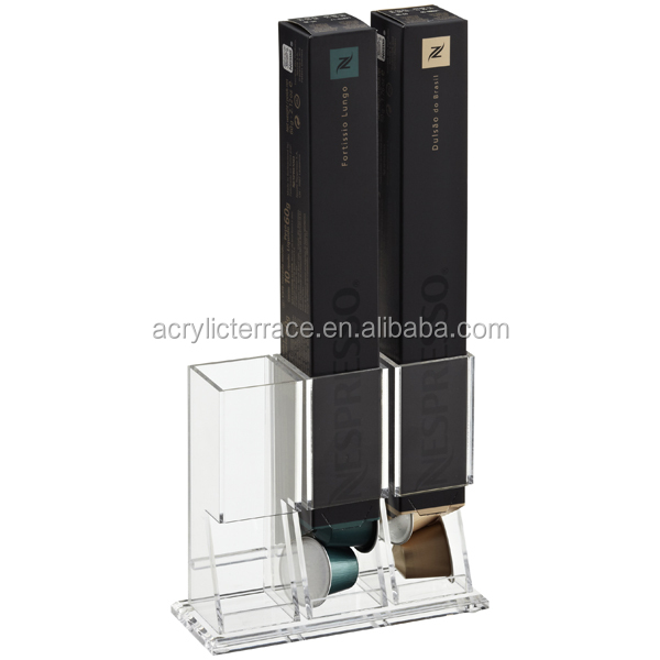 Clear Lucite Coffee Capsule box dispenser stand