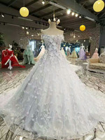 Floral appliqued off shoulder factory direct bridal puffy ball gown new design alibaba dress for wedding