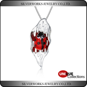 2018 New Design Silver Ladybug Necklace Pendant