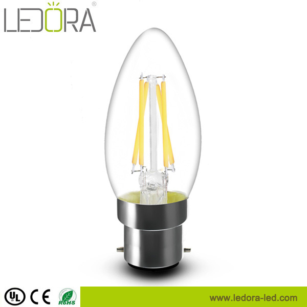 Hot !!! All glass no plastic, 3.5w dimmable led b22 candle bulb