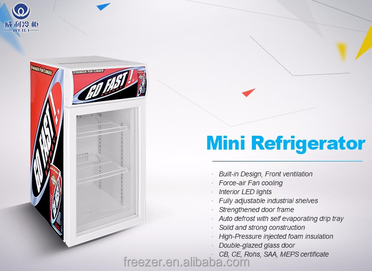WEILI 80L Table Top Display Refrigerator/Mini Commercial Display Refrigerator/Small voltas deep freezer wholesale price