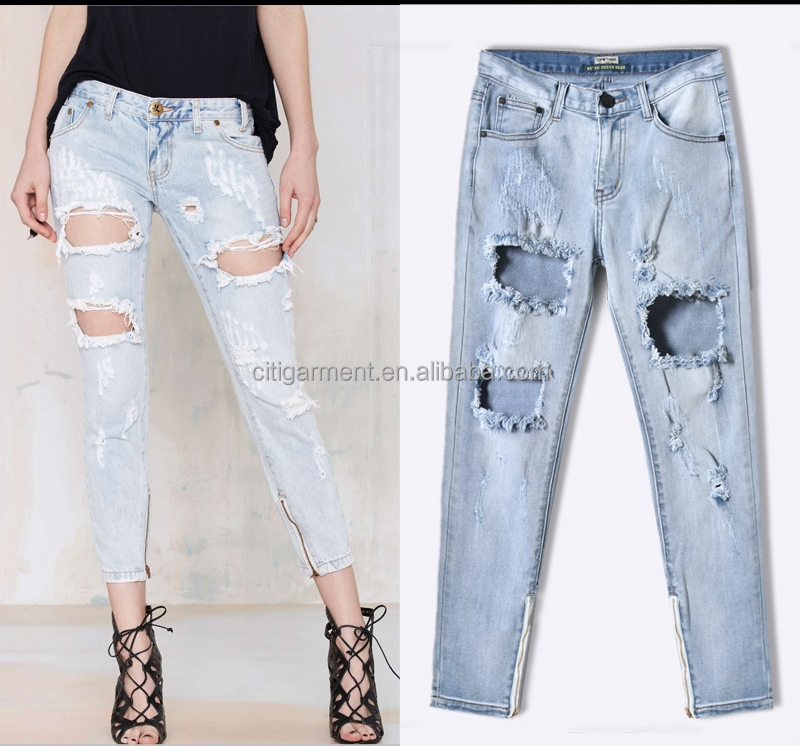 New Model Ladies Hole Cut Ripped Skinny Zipper Decoration Trousers Used Jeans For Sale XS-2XL