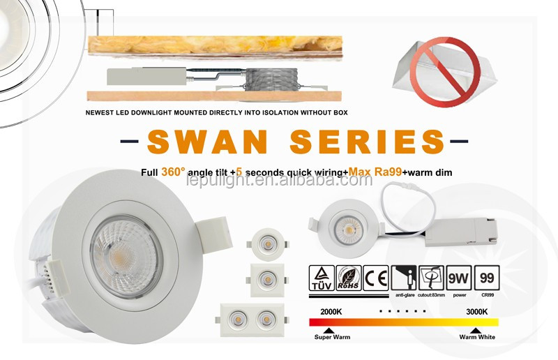 Fire proof Norge dim to warm direct install isolation without downlight box 9*2watt newest cob downlight