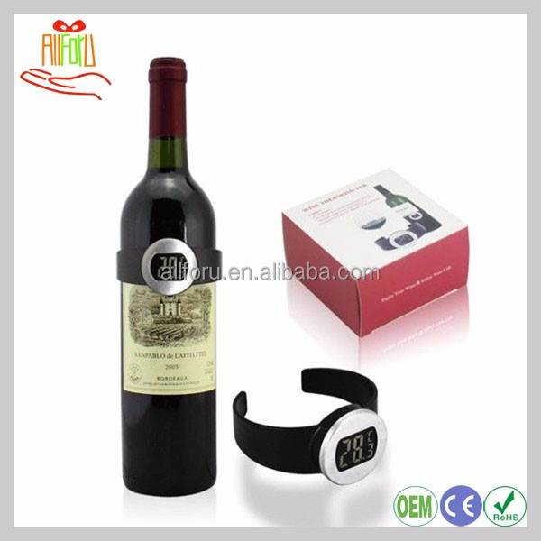 Watch Design Electronic Wine Bottle Temperature, Meter Digital Thermometer For Liquid With LCD Display