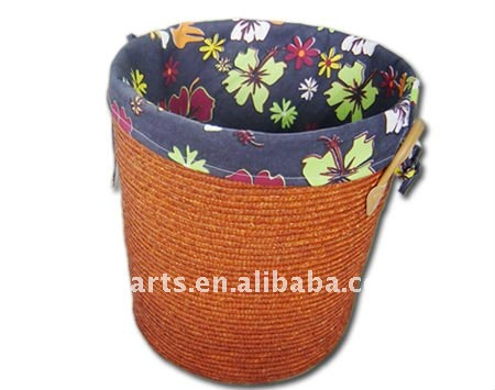natural small new design lined straw laundry basket