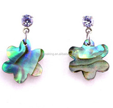 Unique flower abalone shell earrings New Zealand Paua Shell earrings natural Paua Shell earrings wholesale