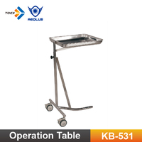 KB-531 Stainless Steel Vet Tools Tray Trolley Medical Mayo Table