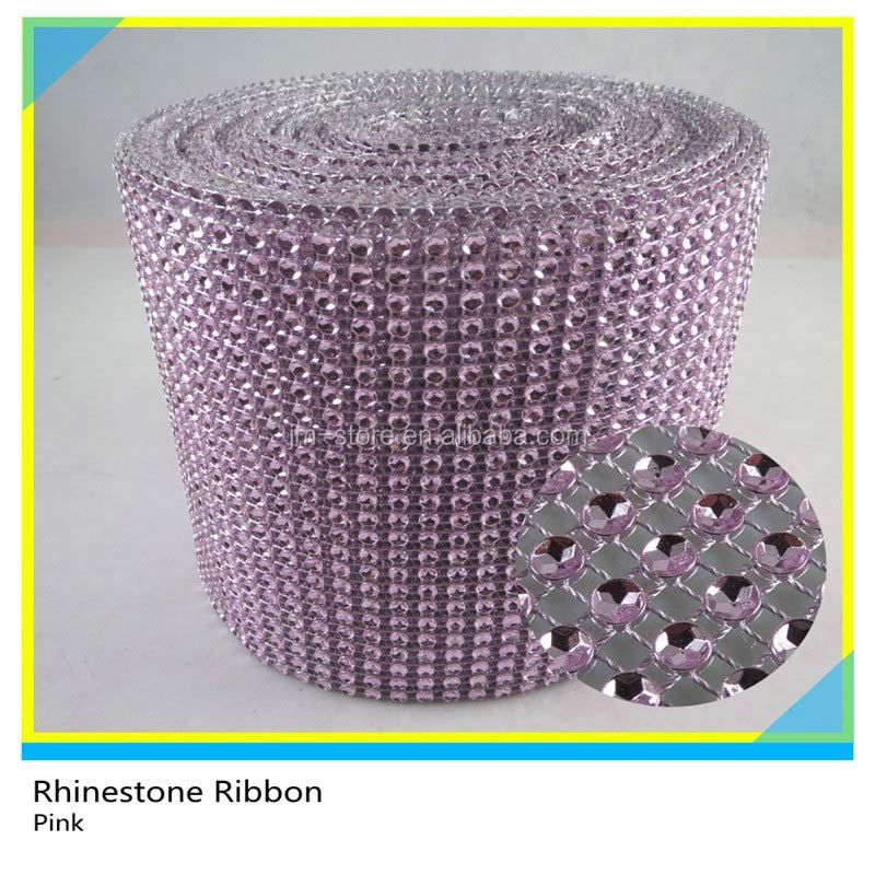 24 Rows Plastic Rhinestone Trimming Mesh Pink Color 10 Yards