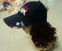 china supplier hats with hair attached with high quality