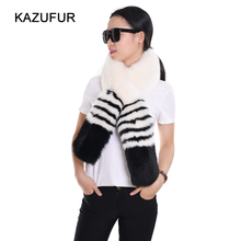 Women real fox fur scarf black/white color fashion thick fur scarf for winter KZ160125