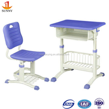 Colourful metal frame and plastic school student desk and chair