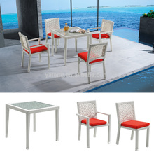 Luxury KD structure wicker garden dining table and arm chair set furniture aluminum frame outdoor furniture