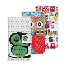 High quality cute owl polka dot stand leather wallet case cover for samsung galaxy s4 mini i9190 i9192 i9195