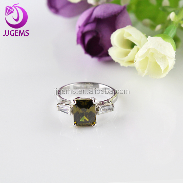 Wholesale green gem ring / imitation Square gemstone ring