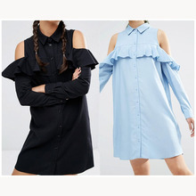 Summer New Fashion Women Blue Ruffles Shirt Dress Casual Butterfly Sleeve Dress Sexy Strapless Straight Loose Dresses