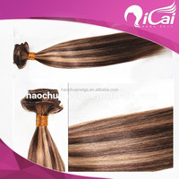 Cheap Human Hair Extensions Silky Straight virgin peruvian hair wefts Piano Color Brown Hair Weave highlight