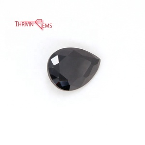 Lab Created Certified Gems Pear Shape Black Loose Gemstone