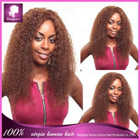 brazilian human remy hair afro kinky twist curly lace front wigs left side part braided for black women color #33 sunny grace