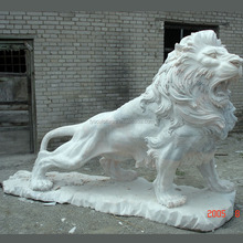 Hebei carved cheap and fine standing marble lion statue stone lion sculpture for garden ornament