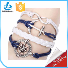 Multi-stand leather bracelet jewelry,anchor bracelet,silver bracelet