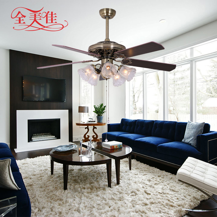 52 inch low profile fashion design energy saving wooden blades decorative ceiling fan with bulb light