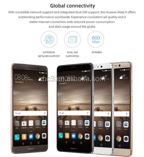 2017 hot sellling HUAWEI Mate 9 4G mobile phone 5.9 inch Octa Core 4GB RAM mobile phone