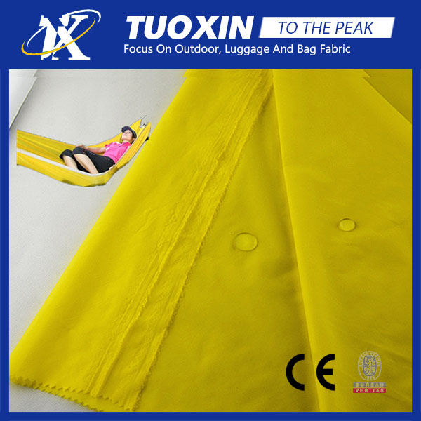 pu coated waterproof 20D 400T 0.08 ripstop nylon taffeta fabric for hammock