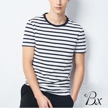 China Supplier blank short sleeve cotton plain t shirt new fashion slim fit white and black stripe tee shirt
