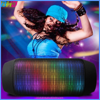 2016 Good sound and 360 Degree Colorful shinning LED Lights wireless bluetooth speaker Hot Pulse Support TF card speaker