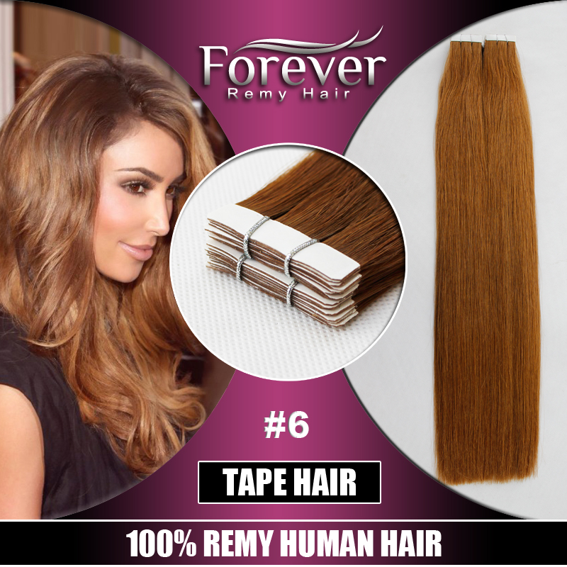 Long lasting all color 100% Remy Human Double Drawn Straight Tape Hair Extensions