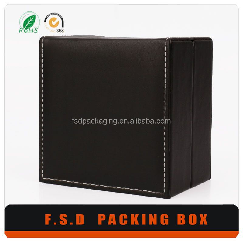 Guangzhou Pillow Insert Watch Box Black PU Leather Package