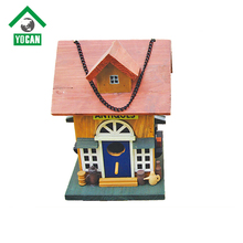 Wooden bird house with solar light for parrots
