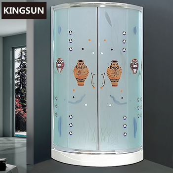 K-7806 China Manufacturer Corner Enclosed Shower Cubicles Frosted Glass In Saudi Arabia With Acrylic Base