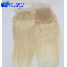 Silk based top closure Malaysian Virgin Hair Straight Silk Base Blonde 613# blond Color