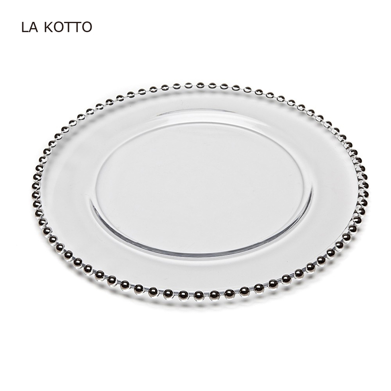 Wedding Glass Charger Plates, Gold Beaded Elegant Gold Rim Glass Plate With Wholesale Price