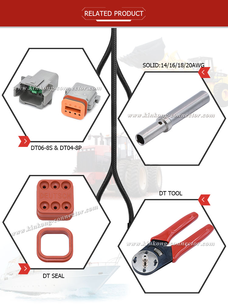 Kinkong China Goods Wholesale Waterproof Female Electrical Wire 8 Pin Connector Dt06-8S