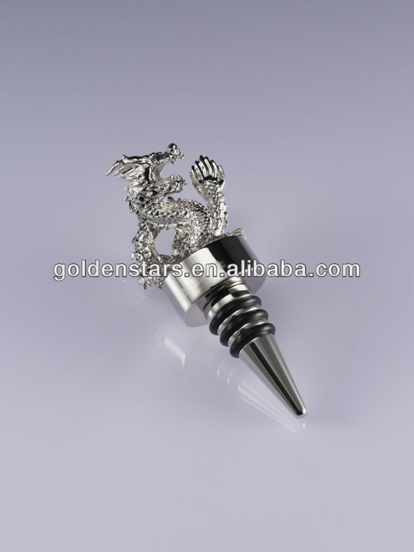 Chinese zodiac designer animal dragon wine stopper stainless steel