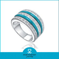 High quality turquoise silver plating ring of white gold 925 italy