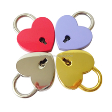 PL01 Retro Heart Shaped Padlock With Key Suitcase Lock Valentine's Day Gift