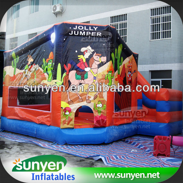 Hot Selling Cowboy Inflatable Bounce Combo With Slide