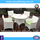 High Quality White PE Wicker Rattan Furniture 4-piece Garden Dining Table Set
