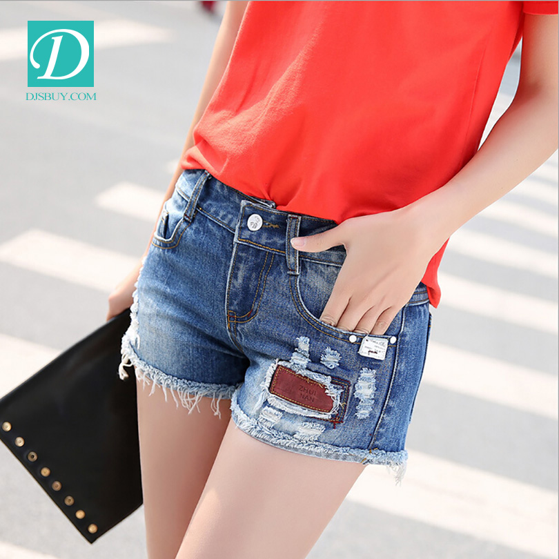 Denim Shorts Fashion fitted Ladies short Jeans with pattern