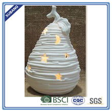 ceramic rattan finish pear with LED light for christmas ornament decorative pear