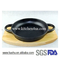 2015 hot sale cast iron grill pan with wooden tray