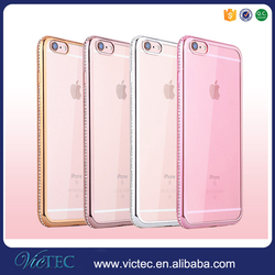 Luxurious TPU bumper electroplated diamond studded cell phone case cover for iphone 6/6s