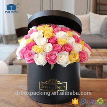 gift packaging box cardboard round flower boxes / flowerbox luxury