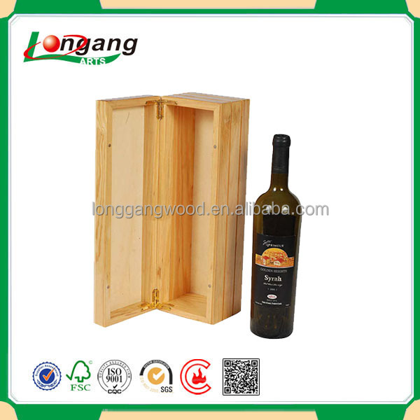 High quality customized wholesale style engraved logo double bottle pine wooden wine box/wooden wine crate/wooden packing box