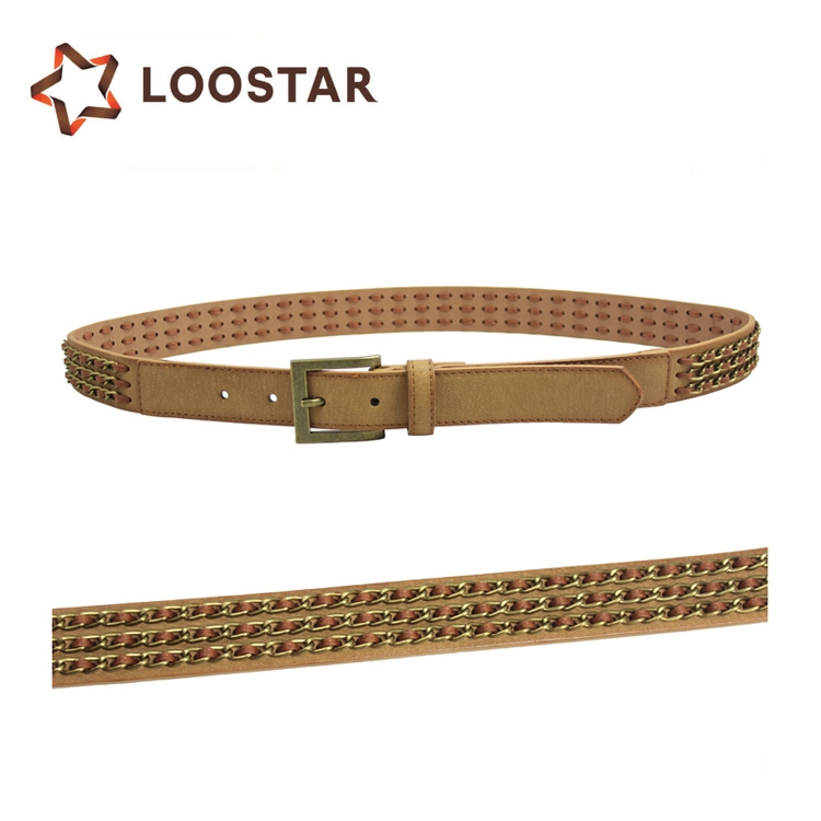 Studded Belt with Chain Decoration for Women Men